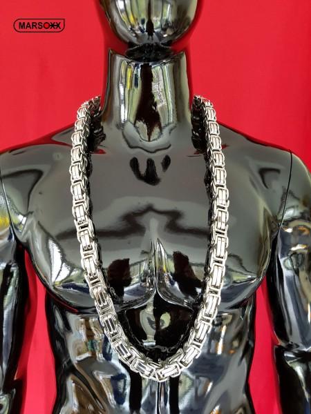 EmperorFight MARSOXX Edelstahlkette Königskette Byzantinerkette Herrenkette Halskette schwer massiv 15mm 100cm Schmuck Karabinerhaken 316L silber poliert auffällig extrem lang