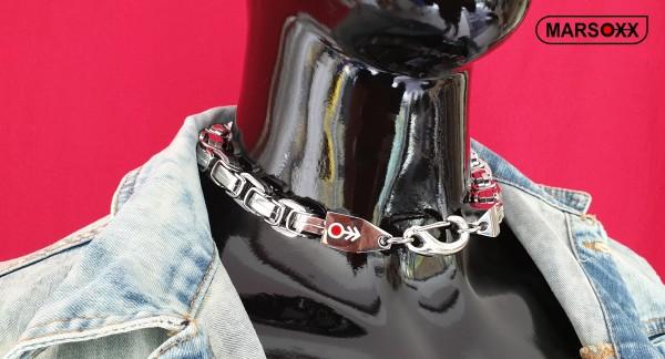 LuxPrinceFight MARSOXX Edelstahlkette Königskette Byzantinerkette Herrenkette Halskette schwer massiv 15mm 50cm Schmuck Karabinerhaken 316L silber poliert auffällig