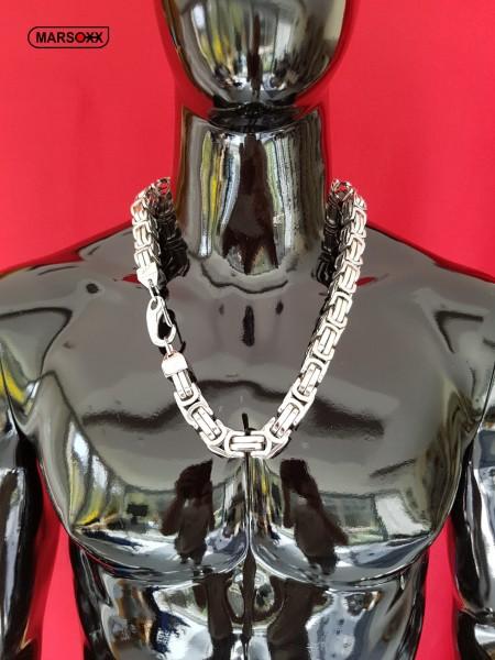 KingFight MARSOXX Edelstahlkette Königskette Byzantinerkette Herrenkette Halskette schwer massiv 15mm 75cm Schmuck Karabinerhaken 316L silber poliert auffällig lang