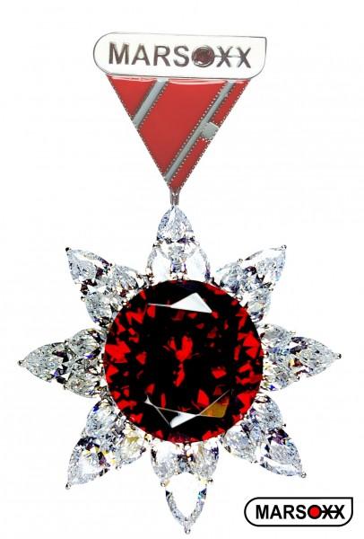 MARSOXX HonorRuby Schmuckorden Orden Brosche Zirkonia Cubic Zirconia große rote Rubin Brilliant Herrenschmuck Zierorden Karnevalsorden
