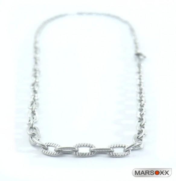 MARSOXX Edelstahlkette Halskette Ankerkette geriffelt dünn fein Herren Karabinerverschluss hochwertig Operation Männerschmuck