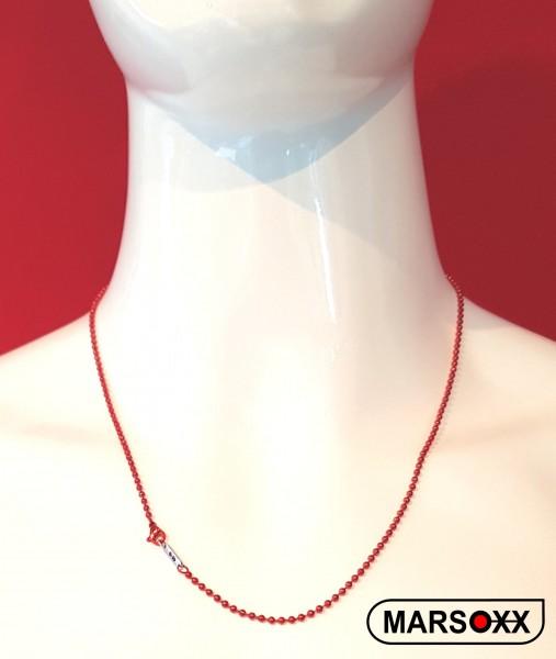 MARSOXX rote Edelstahlkette Halskette Kugelkette dünn leicht Herren Männer Karabinerverschluss hochwertig IdentificationRed 60cm Männerschmuck 316L