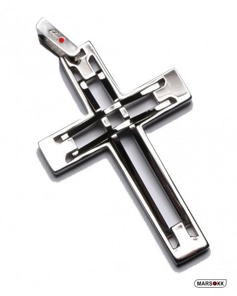 MARSOXX Edelstahl Anhänger Kette Kreuz hochwertig silber poliert Männer Herren Kettenanhänger 316L Schmuck CrissCross