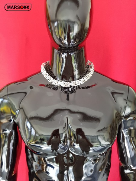 PrinceFight MARSOXX Edelstahlkette Königskette Byzantinerkette Herrenkette Halskette schwer massiv 15mm 50cm Schmuck Karabinerhaken 316L silber poliert auffällig