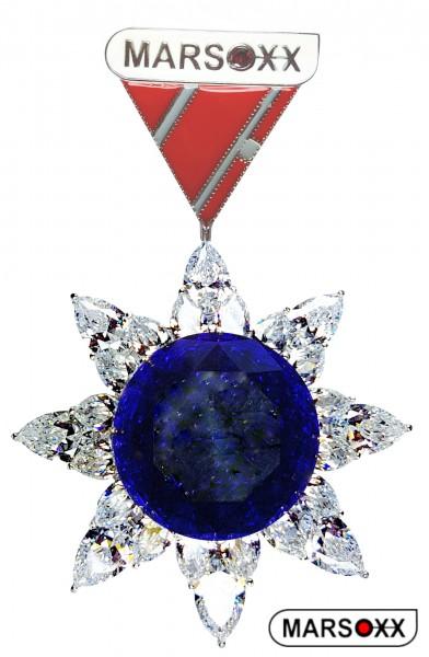 MARSOXX HonorSapphire-Big Schmuckorden Orden Brosche Zirkonia Cubic Zirconia große auffällig blau Saphir Brilliant Herrenschmuck Zierorden Karnevalsorden
