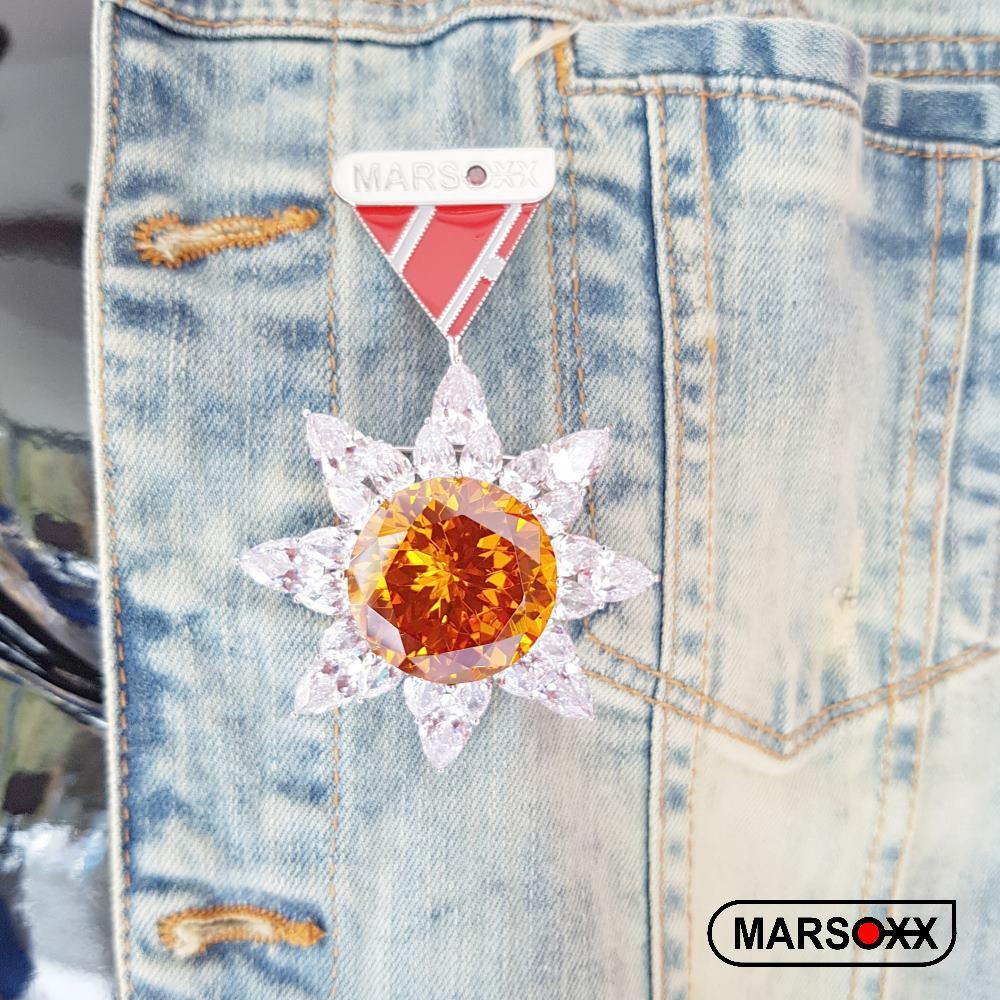 Zirkonia-Brosche Citrin Schmuck-Orden-Design MARSOXX