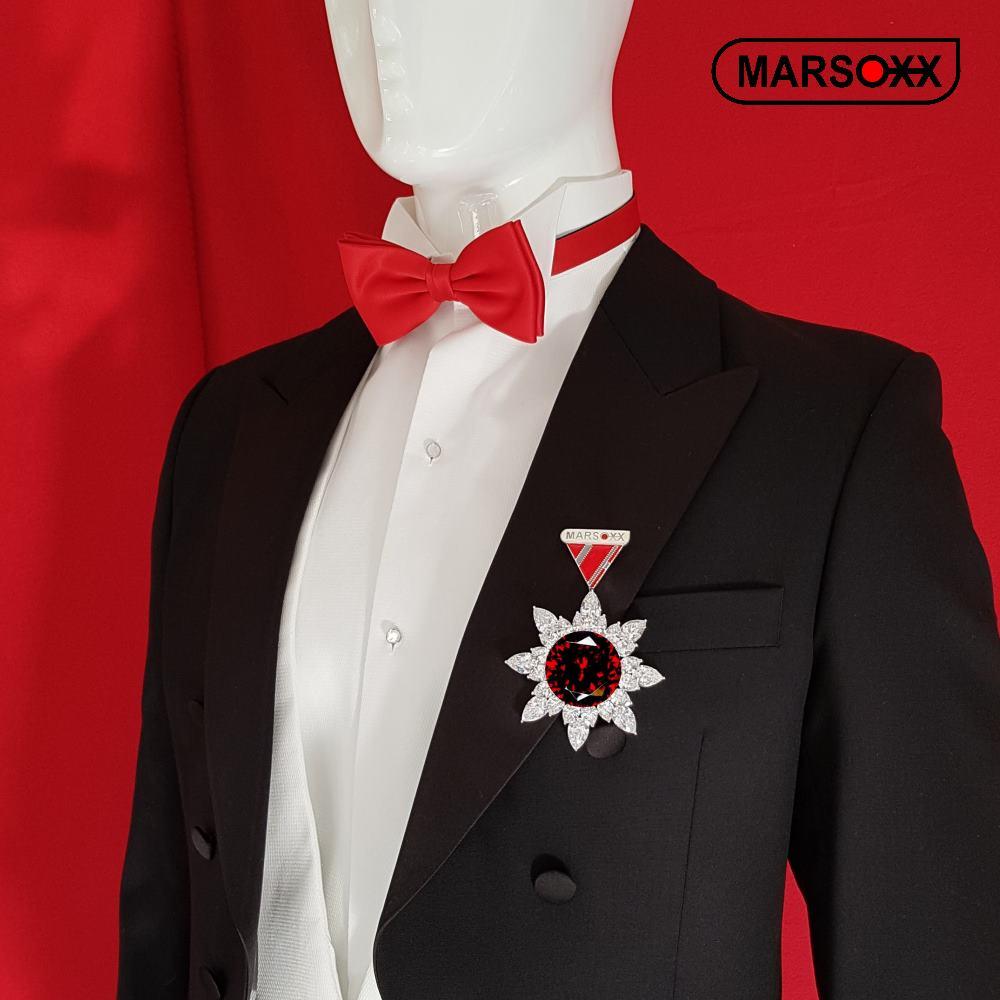 Zirkonia-Brosche Rubin Schmuck-Orden-Design MARSOXX